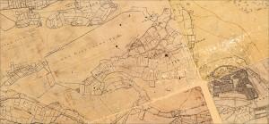 De essener meentwal op de kaart van De Man (ca. 1805)